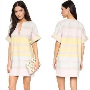 Mara Hoffman colorblock cotton striped dress pink